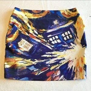BBC Her Universe Doctor Who Van Gogh Mini Skirt